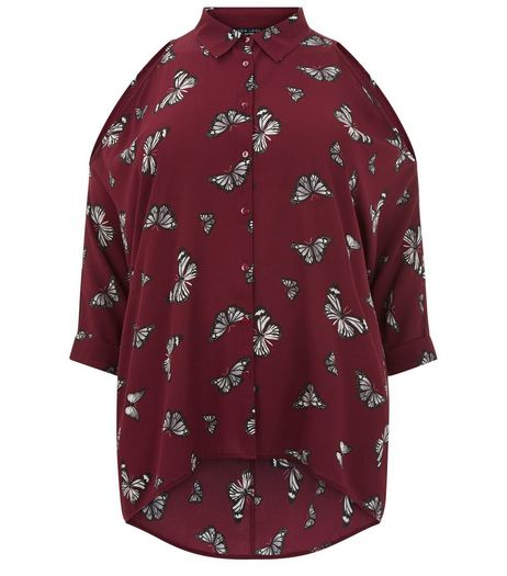 Curves Red Butterfly Print Fine Knit Shirt | New Look