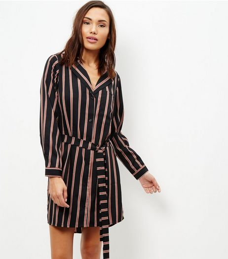 Black Stripe Shirt Dress | New Look