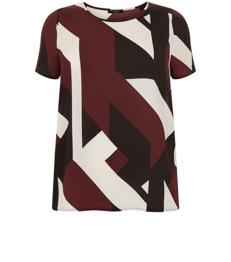 Curves Red Geo Print T-Shirt | New Look