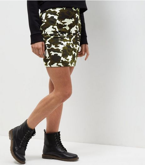 Green Camo Print Jacquard Textured Tube Skirt  | New Look