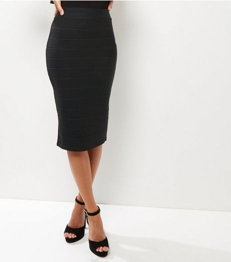 Black Bandage Pencil Skirt  | New Look