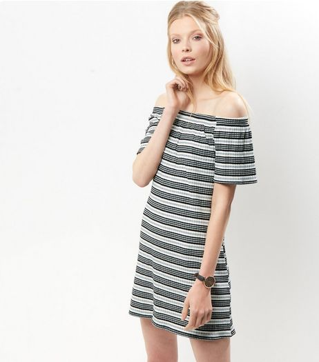 Black Striped Bardot Jersey Dress | New Look