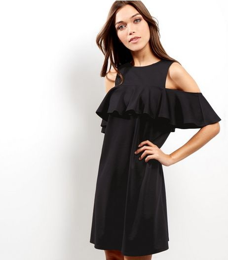 Black Cold Shoulder Frill Trim Tunic Dress | New Look