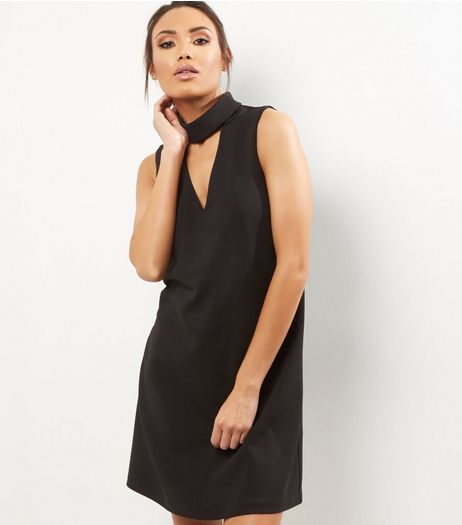 Black Choker Neck Sleeveless Tunic Dress | New Look