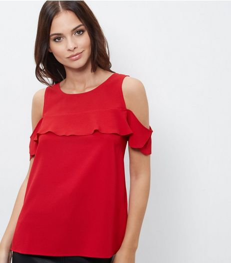 Dark Red Ruffle Cold Shoulder Shell Top | New Look