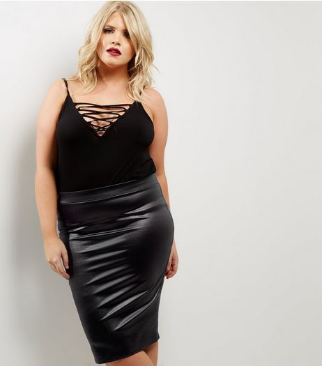 Curves Black Coated Pencil Skirt | New Look