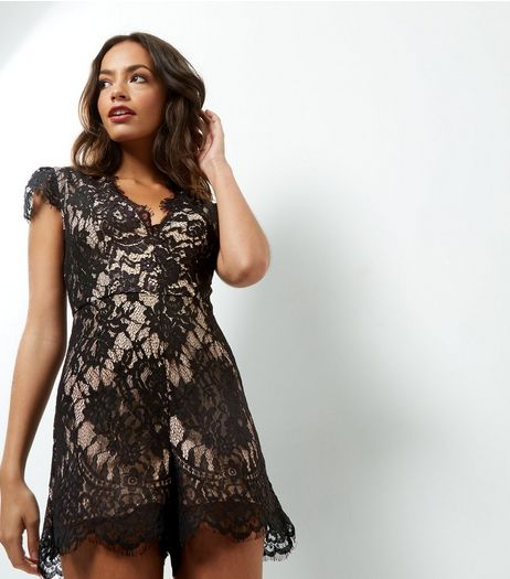 Petite Black Lace V Neck Playsuit  | New Look