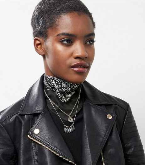 Black Layered Bandana Choker | New Look