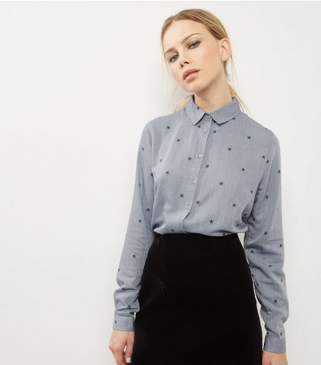 Blue Star Print Long Sleeve Shirt | New Look