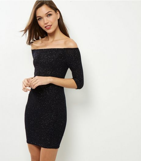 Petite Navy Glitter Bardot Neck Bodycon Dress | New Look