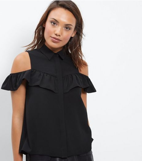 Black Button Front Cold Shoulder Frill Shirt | New Look