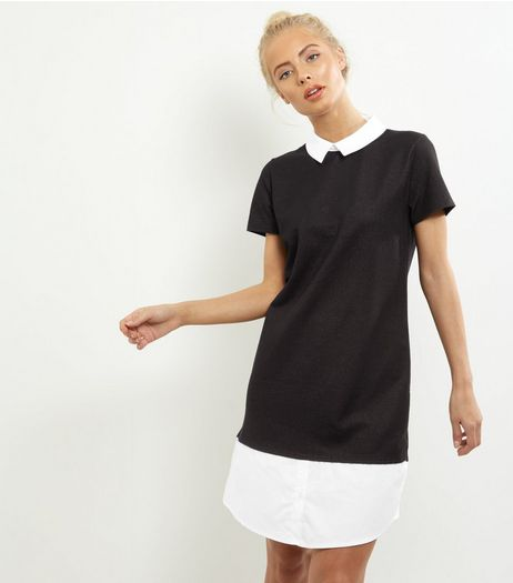 Black 2 in 1 Collared Tunic Dress  | New Look
