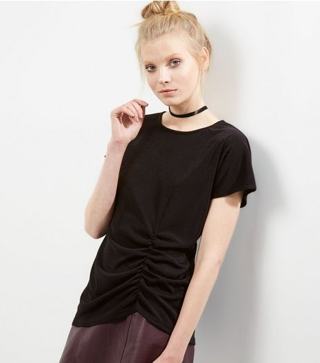 Black Ruche Side Slinky T-Shirt | New Look