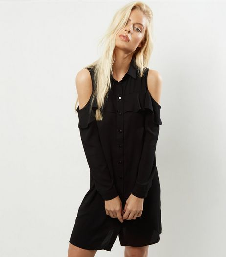 Black Cold Shoulder Frill Trim Shirt Dress | New Look