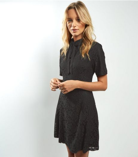Black Lace Neck Tie Shift Dress | New Look