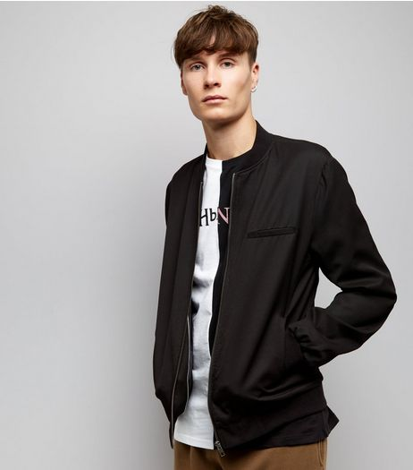 Black Single Pocket Tailored Bomber Jacket | New Look