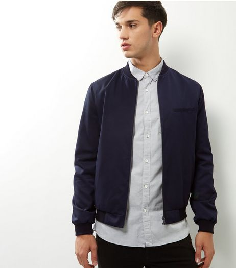 Navy Single Pocket Tailored Bomber Jacket | New Look