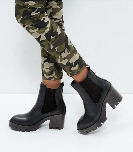 Black Leather-Look Block Heel Ankle Boots  | New Look