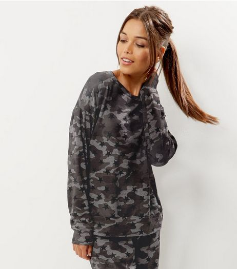 Khaki Camo Print Lightweight Sweater | New Look