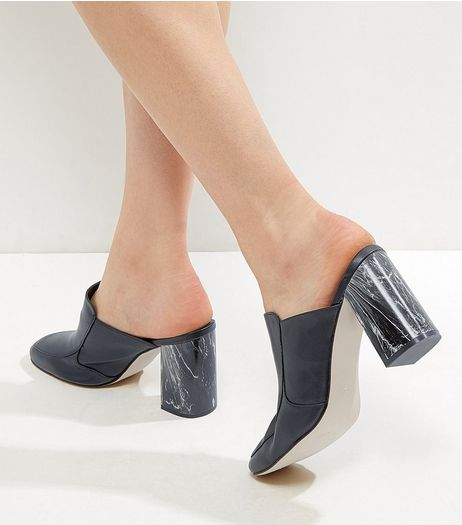 Black Leather-Look Marble Heel Mules | New Look