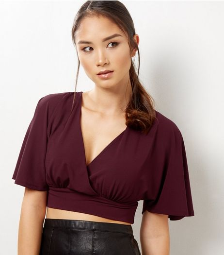 Burgundy Cape Sleeve Crop Top | New Look