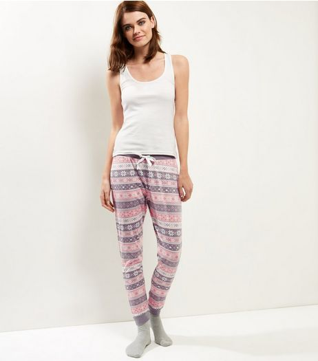 Petite Pastel Pink Fairisle Pyjama Set | New Look