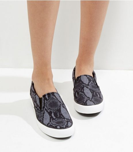 Grey Snakeskin Slip On Plimsolls | New Look