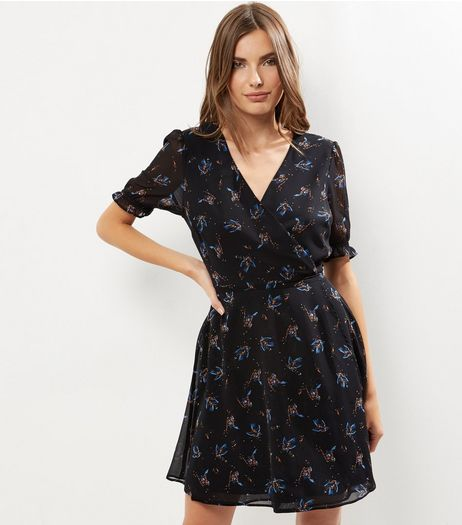 Black Bird Print Chiffon Sleeves Wrap Front Dress | New Look