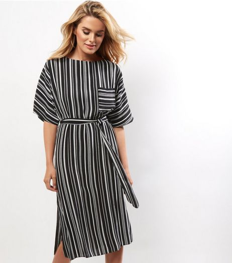 Black Vertical Stripe Pocket Front Belted Midi Dress | New Look