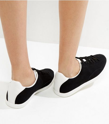 Black Suedette Contrast Panel Lace Up Trainers | New Look