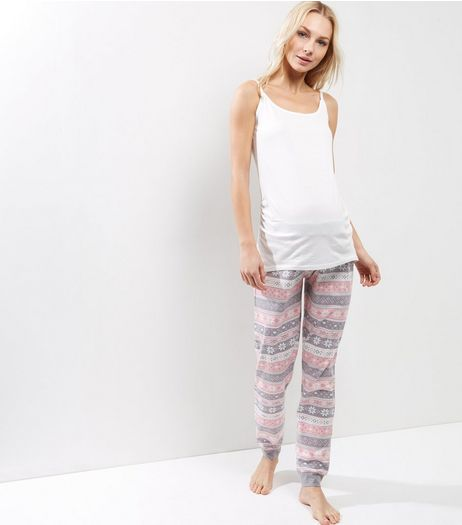 Maternity Pastel Pink Fairisle Pyjamas Set | New Look