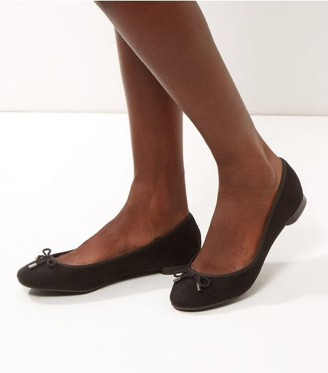 Black Suedette Bow Ballet Pumps | New Look