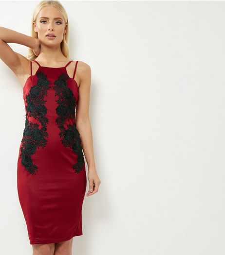 AX Paris Dark Red Crochet Trim Strappy Bodycon Dress | New Look