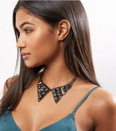 Black Gem Stone Collar Necklace | New Look
