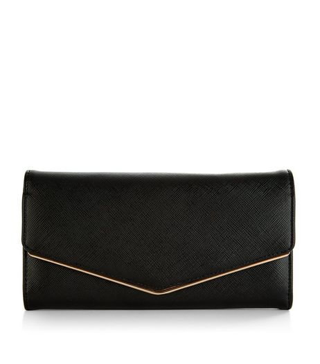 Black Leather-Look Foldover Purse | New Look