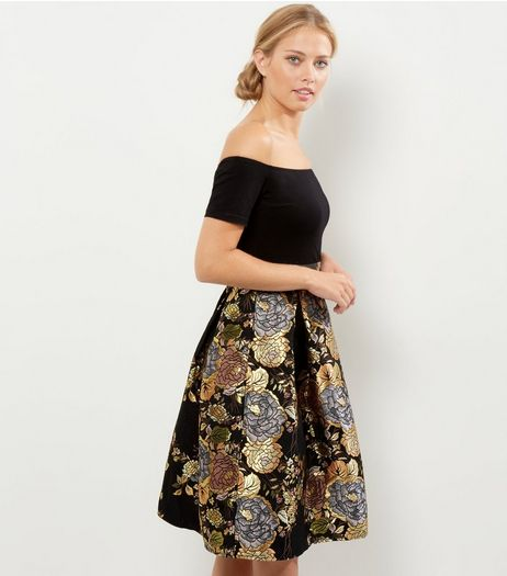 AX Paris Black Floral Print 2 in 1 Bardot Neck Dress | New Look