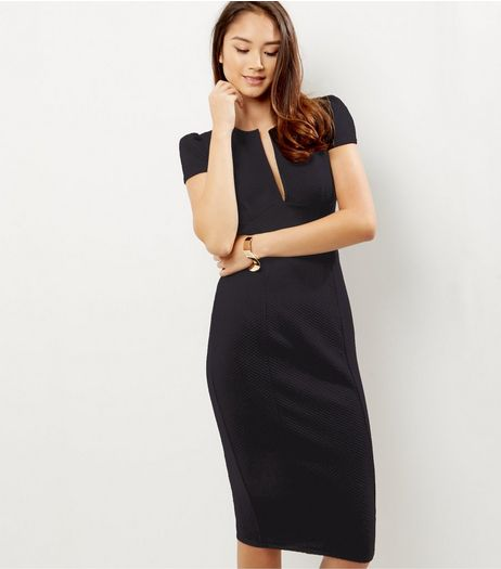 Black V Neck Midi Pencil Dress | New Look