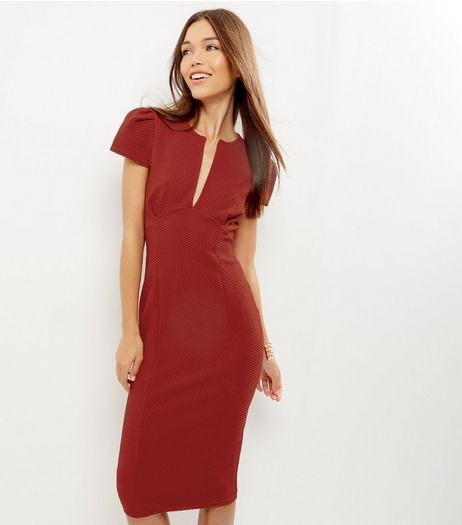 Red Deep V Neck Midi Pencil Dress | New Look