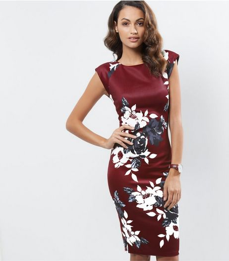 AX Paris Burgundy Floral Print Cap Sleeve Bodycon Dress | New Look