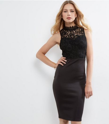 AX Paris Black Crochet Lace Funnel Neck Dress | New Look