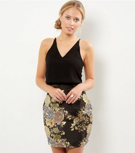 AX Paris Black 2 in 1 Metallic Skirt Cami Dress | New Look