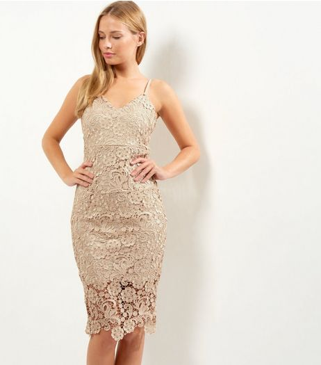 AX Paris Gold Crochet Lace V Neck Midi Dress | New Look