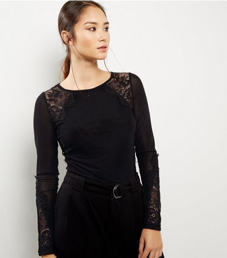 Black Lace Panel Long Sleeve Top | New Look