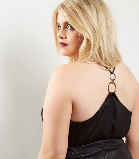 Curves Black Ring Back Cami | New Look