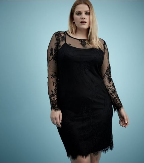 Curves Black Sheer Lace Long Sleeve Bodycon Dress  | New Look