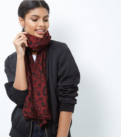 Burgundy Contrast Leopard Print Long Line Scarf | New Look