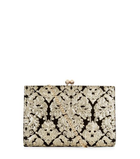 Black Velvet Sequin Baroque Clutch | New Look