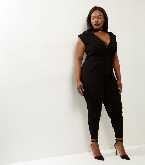Curves Black Wrap Front Belted Jumpsuit | New Look