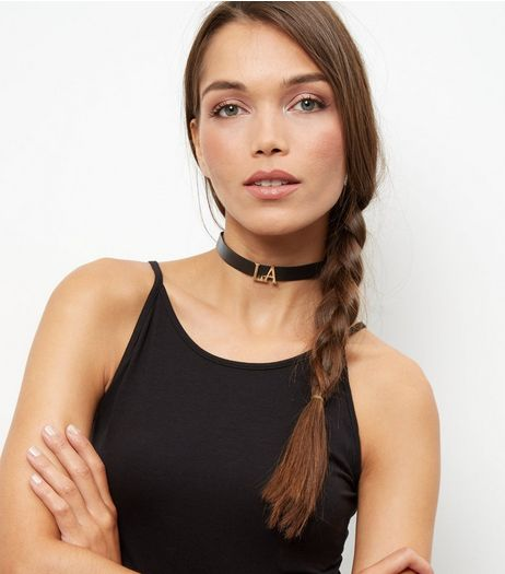 Black LA Jewel Drape Choker | New Look