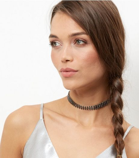 4 Row Diamante Choker | New Look